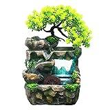 Phrat Zimmerbrunnen Indoor & Outdoor Brunnen Wasserfall Tischbrunnen Dekoration Wasserspiel Mit Farbwechsel Led Beleuchtung Zen Meditation W
