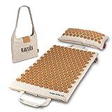 Glanzstück Berlin® Health Collection: XL Akupressurmatte Set Premium aus Leinen, Hilfe bei Nackenverspannungen, Rückenschmerzen, Massagematte mit Kissen & Tasche, nachhaltig