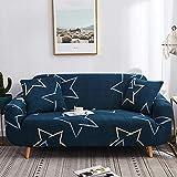 Sofabezug 3sitzer Dunkelblauer Fünfzackiger Stern Stretch Couch überzug Universal-Sofabezüge Wohnzimmer Jacquard Spandex Möbelschutz Hunde Haustierfreundliche Couch Schonbezug (195-230cm)