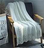 Hayisugal Wohndecke Sofaüberwürfe Strick Decke Decke mit Fransen Wolldecke Quaste Kuscheldecke Sofadecke Strickdecke für Fernsehen oder Nap auf dem Stuhl, Weiß, 130x170CM
