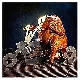 WSXEDC Motorrad Hühnerstand, Hochleistungs-Edelstahl-Motorrad BBQ-Grill, Bierkanal-Hühnerhalter, tragbarer Fahrradstand, für Home Camping BBQ-Gebrauch (Color : Five-Pointed Star)