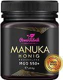 Manuka Honig   MGO 550+   250g   Das ORIGINAL aus NEUSEELAND   HOCHAKTIV, PUR, ROH & ZERTIFIZIERT   Premium Qualität 100% natürlich   PowerFabrik