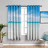LWXBJX Blickdicht Vorhang für Schlafzimmer - Blau Meer Strand Landschaft - 3D Druckmuster Öse Thermisch isoliert - 200 x 160 cm - 90% Blickdicht Vorhang für Kinder Jungen Mädchen Spielzimmer