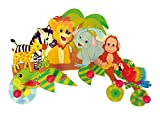 Hess Holzspielzeug 30305 - Garderobe aus Holz, Serie Dschungel, mit 5 Haken, für Kinder, ca. 37 x 26 x 6,5 cm groß, handgefertigt, als Blickfang in jedem Kinderzimmer und Flur