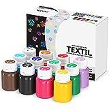 Stofffarben Textilfarben Acrylfarben Set Waschfest 12 Farben x 20 ml Stoffmalfarben Textilmalfarben Flüssig Wasserfest Waschmaschinenfest für Dunkle und Helle Stoffe