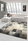 Designer Teppich Moderner Teppich Wohnzimmer Teppich Kurzflor Teppich Barock Design Meliert Karo Design in Braun Grau Creme Größe 160x230