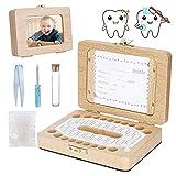 MUFENA Baby Zähne Box Kinder männlich und weiblich Baby Laubzähne Box Holz Bilderrahmen Zahnerhaltung Box Laubzahn Sammlung Aufbewahrung Souvenir Box