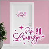 Dekoaufkleber Pipi Lounge 26x16cm für Badezimmer Bad WC Toilette Tür Wandtattoo Unisex Wand Sticker Aufkleber lustig witzig selbstklebend YX025 (Pink)