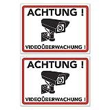 Achtung Videoüberwachung Schild - Warnschild - Hinweisschild für Kameraüberwachung - Video Überwachungsschild - Dieser Bereich Wird videoüberwacht (20x15 cm) (2 STK. Achtung Videoüberwachung)