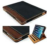 New s-tech schwarz und Tan Apple iPad Mini 123Modelle Weiches Leder Wallet Smart Cover mit Sleep/Wake Funktion Flip Case