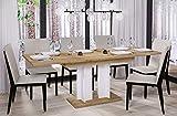 Esstisch Aurora 170 ausziehbar erweiterbar Küchentisch Säulentisch Weiß Bicolour (Wotan Eiche)