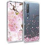 kwmobile Hülle kompatibel mit Xiaomi Mi 10 / Mi 10 Pro - Handyhülle - Handy Case Kirschblütenblätter Rosa Dunkelbraun Transp