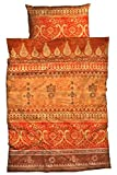 sister s. Bettwäsche Indi Reine Baumwolle, Satin - Bordürendruck absolut hip modernes Landhaus orientalischer Flair Ornamente Terra orange 135 cm x 200 cm
