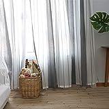 Voile-Vorhang, Voile Gardinen, Leinen Optik Vorhang, Einfach gestreiften Stil Vorhang, Vorhang Panels, Vintage Vorhang für Schlafzimmer Wohnzimmer
