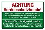 WERBEPUNKT. Schild Herdenschutzhund Hunde anleinen Abstand halten Hinweis 3 mm Alu-Verbund 600 x 400 mm