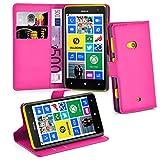 Cadorabo Hülle für Nokia Lumia 625 in Cherry PINK - Handyhülle mit Magnetverschluss, Standfunktion und Kartenfach - Case Cover Schutzhülle Etui Tasche Book Klapp Style