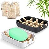 Seifenschalen aus Natur - Bambus Seifenhalter Nachhaltig mit Abtropfwanne,Tragbare Seifenkiste für Travel Home Badezimmer,2 x Seifen Box (weiß & schwarz) + 3 x Seifentaschen aus 100% Natürliches Sisal