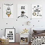 OCRTN Cartoon Universum Raumschiff Astronaut Zitat Kinderzimmer Wandkunst Leinwand Malerei Poster Drucke Bild Dekoration für Kinderzimmer Dekor / 30x40cmx3 Kein Rahmen