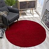 SANAT Teppich Rund - Rot Hochflor, Langflor Modern Teppiche fürs Wohnzimmer, Schlafzimmer, Esszimmer oder Kinderzimmer, Größe: 150x150 cm