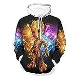 Groot Wood Sweater Atmungsaktive Mode Hoodies mit Gabel-Kängurutasche für Woker Sporter für Gym Sport Weiß 2XL