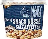 Maryland Snack-Nüsse Salz-Pfeffer Nussmischung Nussmix Becher Snack geröstet gewürzt gesalzen vegan, 275g