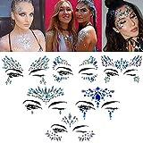 Gesicht Edelsteine 6 Set Temporäre Tattoos Halloween Festival Glitter, Strass Temporäre Tattoo Gesicht Juwelen Kristalle Strasssteine Gesicht Aufkleber Augenbraue Gesicht Körperschmuck