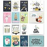 20 Geburtstagskarten Set   Glückwunschkarte Grusskarte Geburtstag Happy Birthday   Männer Frauen Kinder   Hochwertig ohne Umschlag blanko
