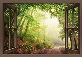 Artland Qualitätsbilder I Wandtattoo Wandsticker Wandaufkleber 100 x 70 cm Landschaften Wald Foto Grün B8CN Fensterblick Natürliche Torbögen durch B