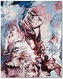 Bougimal Malen Nach Zahlen Erwachsene, Schönes Frau und Wolf Bild mit Rahmen 40 x 50 cm