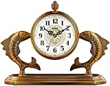 qwert Kaminuhr Arabische Zahl Dial Fisch Dekor Kamin Uhr Zogenes Kupfer-Retro Tischuhr Mute-Desktop, Batteriebetriebene