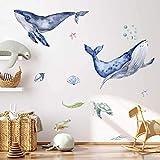 WAL Ozean Wandtattoo Set | handgezeichnet | AUFKLEBER Kindergarten | Wandsticker Kinderzimmer Schildkröte Meerestiere (70 x 70 cm)