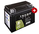 TECNO-GEL Motorrad-Batterie YB4L-B, 12V Gel-Batterie 5Ah (DIN 50411), 120x71x91 mm inkl. Pfand