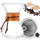 TOPmountain Pour Over Kaffeebereiter, Glas-Kaffeekanne & Kaffeebrauer mit Edelstahlfilter, hohe Hitzebeständigkeit, Dekanter, 400 ml