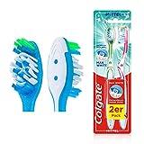 Colgate Zahnbürste Max White mittel, 2er Pack - Handzahnbürste für einen rundum gereinigten Mund und natürlich weiße Zähne