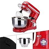 Arebos Küchenmaschine 1500W mit 6L Edelstahl-Rührschüssel, Rührbesen, Knethaken, Schlagbesen und Spritzschutz, 6 Geschwindigkeit Geräuschlos Teigmaschine, Rot