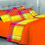 CosìCasa Bettwäsche-Set für Einzelbett, 100 % Baumwolle, gelb, Kissenbezug mit Karo-Muster, Oberlaken 160 x 290 cm, Spannbettlaken 90 x 200 cm, Kissenbezug 50 x 80 cm, 1P