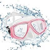 KOROSTRO Taucherbrille Erwachsene, Anti-Fog Schnorchelbrille Schwimmbrille Tauchmaske, Wasserdicht, Lecksicher, UV Schutz, Verstellbares Silikonband, Schnorcheln Enthusiasten Beste Wahl - Pink