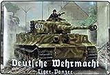 Blechschild 20x30cm gewölbt Deutsche Wehrmacht Tiger Panzer Soldaten Deko Geschenk Schild