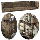 LS-LebenStil Holz Wand-Regal Ziegelform Braun 45cm Wandboard Box Küchen-Reg