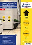 AVERY Zweckform Hinweis Aufkleber Pfeile (ø20 cm, 12 Warnschilder, je 1x Hinweisschild Eingang und Ausgang sowie 10x Richtungspfeile für Handel, Gastro, Firma) 49402