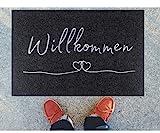Majo Lifestyle Fussmatte - Premium robuste Anti-rutsch Fußmatte für außen/innen - 40x60 cm - weiche Schuhmatte - Grau - Polyester Schmutzfangmatte - Fussmatten Haustür - Geschenk (Anthrazit)