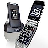 Großtasten Mobiltelefon, Seniorenhandy MB 100 Grau, Klapphandy u.a. mit Kamera, Notruftaste, sprechender Tastatur sowie LED Lamp