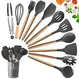 11-teiliges Silikon-Kochutensilien-Set, hitzebeständige Holzgriffe, Kochwerkzeug, BPA-frei, ungiftig, Silikonwender, Pfannenwender, Löffel, Küchenhelfer-Set für antihaftbeschichtetes Kochgeschirr g