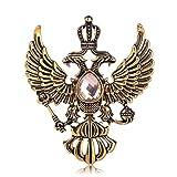 Vintage russische National Emblem Form Broschen Antik Gold Farbe Strass Brosche Frauen Männer Souvenir Geschenke Revers Pins-Gold