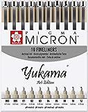 Sakura Pigma Yukama® Art-Edition, alle 10 Pigma Micron Fineliner Nr. 003-12, Schwarz