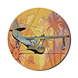 Vintage Flugzeug Mauspad für Computer, tropische Bäume Kompass und Weltkarte Hintergrund in warmen Tönen und Flugzeug, Runde rutschfeste dicke Gummi Modern Gaming Mousepad, 8 'rund, mehrfarbig