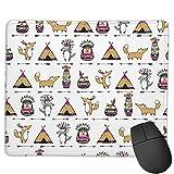 Gaming Mouse Pad Benutzerdefiniert,Ethnisch mit lustigen indianischen Tieren Füchse Eulen Wölfe,Office Rectangle rutschfeste Gummi-Mauspad für Computer Laptop 9.8'x 11.8'