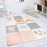 Paco Home Kinderteppich Teppich Kinderzimmer Spielmatte Babymatte Rauten Sterne Grau Rosa Weiß, Grösse:155x230 cm