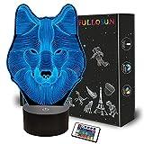 3D Wolf Nachtlicht, optische Täuschungslampe für die Inneneinrichtung, Fernbedienung mit 16 farbwechselnden Geschenken für Kinder, Männer