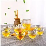 YUR Whiskyglas,verdickte Hitzebeständige Teetasse,teeset Im Japanischen Stil Anzug, Mit 6 Teetassen, 1 Deckelschale Und 1 Herrentasse,geeignet,Kung Fu Teeset